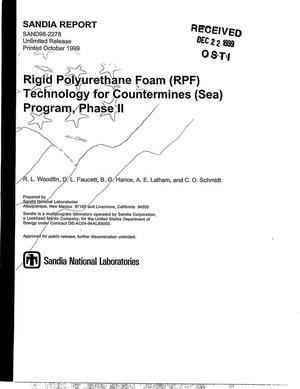 Primary view of object titled 'Rigid Polyurethane Foam (RPF) Technology for Countermines (Sea) Program Phase II'.