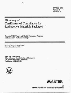 Primary view of object titled 'Directory of Certificates of Compliance for radioactive materials packages: Report of NRC approved quality assurance programs for radioactive materials packages. Volume 3, Revision 15'.