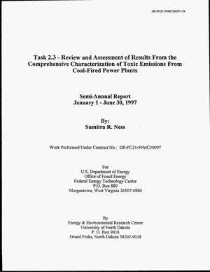 Primary view of object titled 'Task 2.3 - Review and Assessment of Results From the Comprehensive Characterization of Toxic Emissions From Coal-Fired Power Plants'.