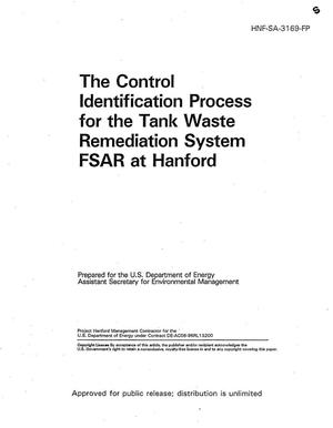 Primary view of object titled 'The use of representative cases in hazard analysis of the tank waste remediation system at Hanford. The information in this document is a combination of HNF-SA-3168-A {ampersand} HNF-SA-3169-A - The control identification process'.