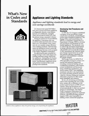Primary view of object titled 'What`s new in codes and standards - Office of Building Technologies (OBT): Appliance and lighting standards'.