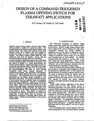 Primary view of object titled 'Design of a Command-Triggered Plasma Opening Switch for Terawatt Applications'.