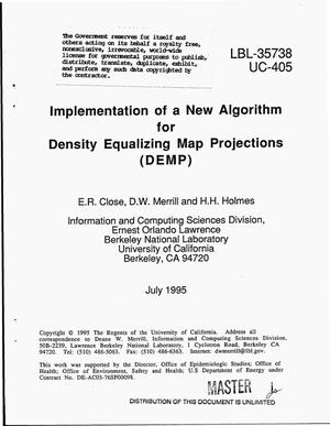 Primary view of object titled 'Implementation of a new algorithm for Density Equalizing Map Projections (DEMP)'.