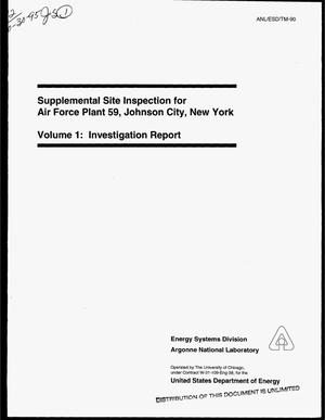 Primary view of object titled 'Supplemental site inspection for Air Force Plant 59, Johnson City, New York, Volume 1: Investigation report'.