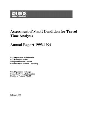 Primary view of object titled 'Assessment of Smolt Condition for Travel Time Analysis, 1993-1994 Annual Report.'.