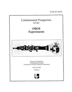 Primary view of object titled 'OBOE containment prospectus'.