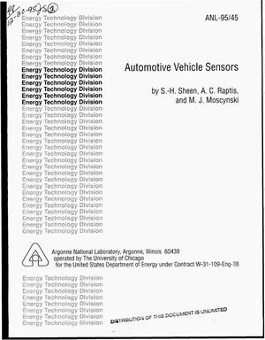 Primary view of object titled 'Automotive vehicle sensors'.