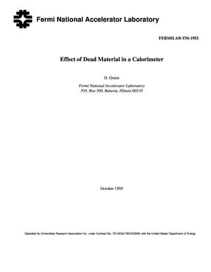 Primary view of object titled 'Effect of dead material in a calorimeter'.