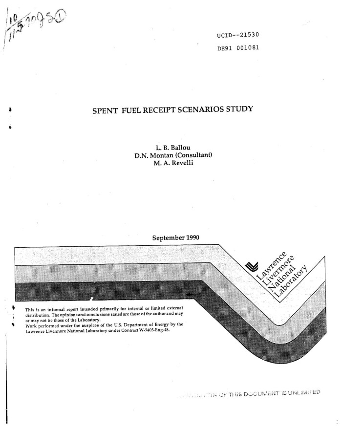 primary view of object titled spent fuel receipt scenarios study