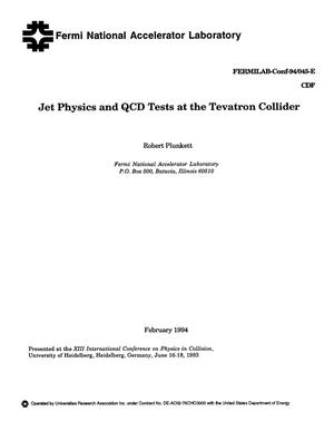 Primary view of object titled 'Jet physics and QCD tests at the Tevatron collider'.