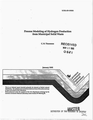 Primary view of object titled 'Process modeling of hydrogen production from municipal solid waste'.