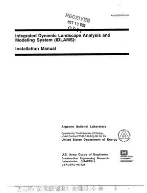 Primary view of object titled 'Integrated dynamic landscape analysis and modeling system (IDLAMS) : installation manual.'.