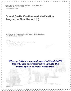 Primary view of object titled 'Gravel Gertie Confinement Verification Program'.