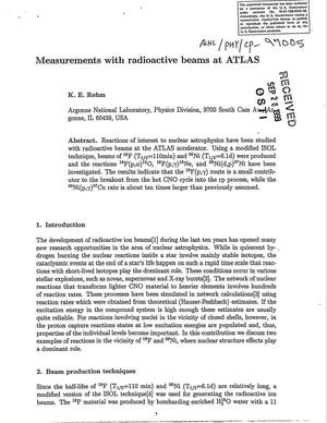 Primary view of object titled 'Measurements with radioactive beams at ATLAS.'.
