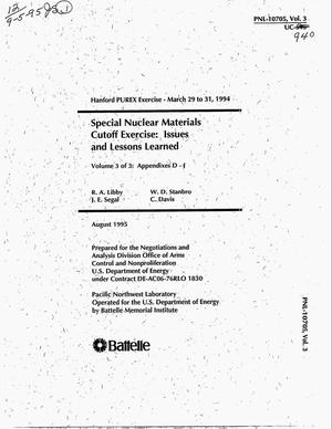 Primary view of object titled 'Special nuclear materials cutoff exercise: Issues and lessons learned. Volume 3'.