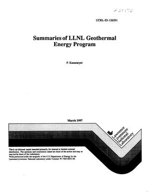 Primary view of object titled 'Summaries of LLNL geothermal energy program'.