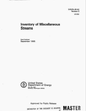 Primary view of object titled 'Inventory of miscellaneous streams'.