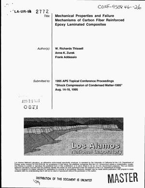 Primary view of object titled 'Mechanical properties and failure mechanisms of carbon fiber reinforced epoxy laminated composites'.