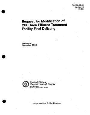 Primary view of object titled 'Request for modification of 200 Area effluent treatment facility final delisting'.