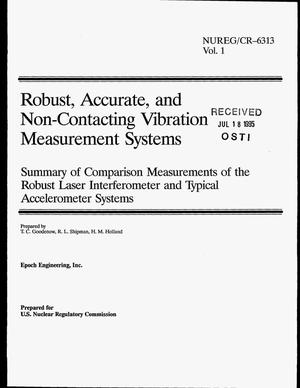 Primary view of object titled 'Robust, accurate, and non-contacting vibration measurement systems: Summary of comparison measurements of the robust laser interferometer and typical accelerometer systems. Volume 1'.