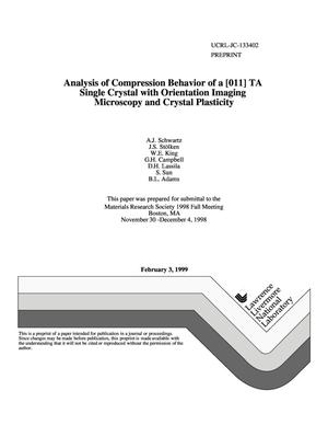 Primary view of object titled 'Analysis of compression behavior of a [011] Ta single crystal with orientation imaging microscopy and crystal plasticity'.
