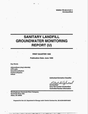 Primary view of object titled 'Sanitary landfill groundwater monitoring report. First Quarter 1995'.