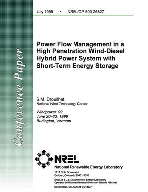 Primary view of object titled 'Power Flow Management in a High Penetration Wind-Diesel Hybrid Power System with Short-Term Energy Storage'.