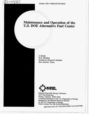 Primary view of object titled 'Maintenance and operation of the US Alternative Fuel Center'.