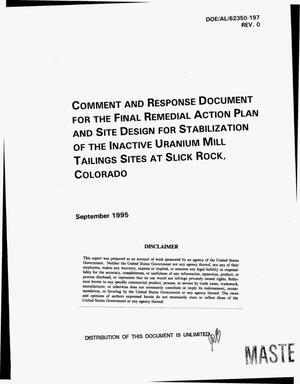 Primary view of object titled 'Comment and response document for the final remedial action plan site design for stabilization of the Inactive Uranium Mill Tailings Sites at Slick Rock, Colorado'.