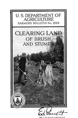 Primary view of object titled 'Clearing land of brush and stumps.'.