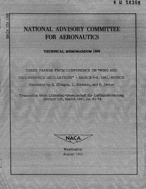 "Primary view of object titled 'Three papers from conference on ""Wing and tail-surface oscillations : March 6-8, 1941, Munich'."