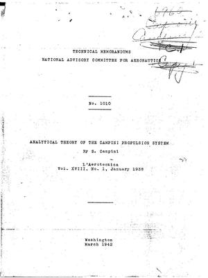 Primary view of object titled 'Analytical theory of the Campini propulsion system'.