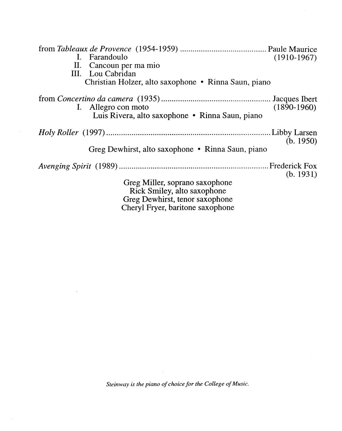 College Of Music Program Book 2002 2003 Ensemble Performances Vol 1