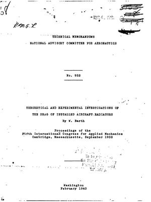 Primary view of object titled 'Theoretical and Experimental Investigations of the Drag of Installed Aircraft Radiators'.