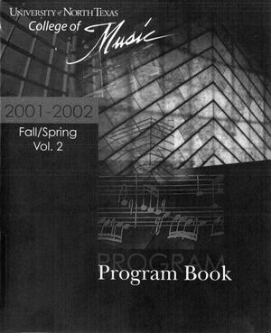 Primary view of object titled 'College of Music program book 2001-2002 Ensemble Performances Vol. 2'.