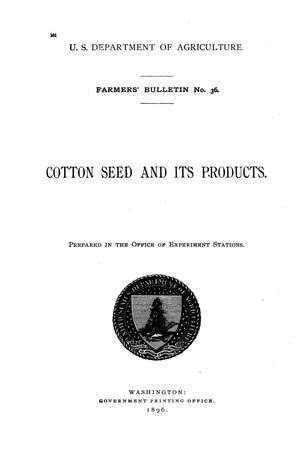 Primary view of object titled 'Cotton seed and its products.'.