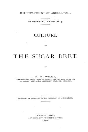 Primary view of object titled 'Culture of the sugar beet.'.