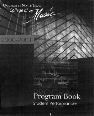 Primary view of object titled 'College of Music program book 2000-2001 Student Performances Vol. 2'.
