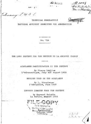 Primary view of The 1933 Contest for the Deutsch De La Meurthe Trophy