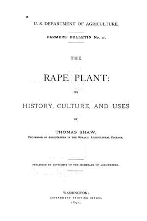 Primary view of The rape plant: its history, culture, and uses.