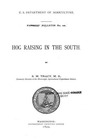 Primary view of Hog raising in the South.
