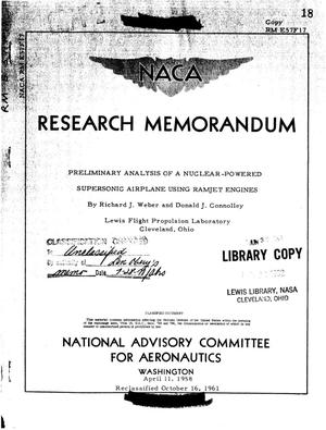 Primary view of object titled 'Preliminary analysis of a nuclear-powered supersonic airplane using ramjet engines'.