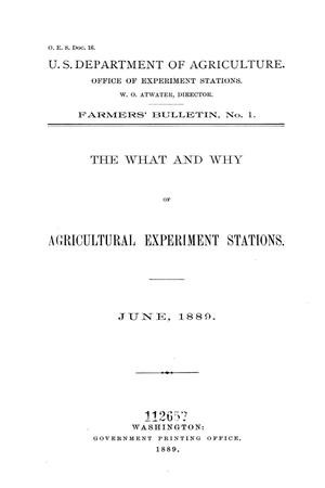 Primary view of object titled 'The What and Why of Agricultural Experiment Stations.'.