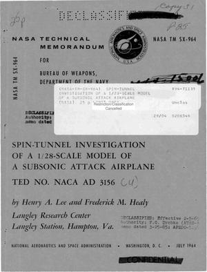 Primary view of object titled 'Spin-Tunnel Investigation of a 1/28-Scale Model of a Subsonic Attack Airplane'.