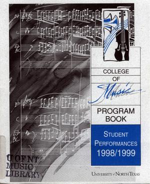Primary view of object titled 'College of Music program book 1998-1999 Student Performances'.