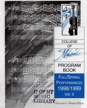 Primary view of object titled 'College of Music program book 1998-1999 Ensemble Performances Vol. 2'.