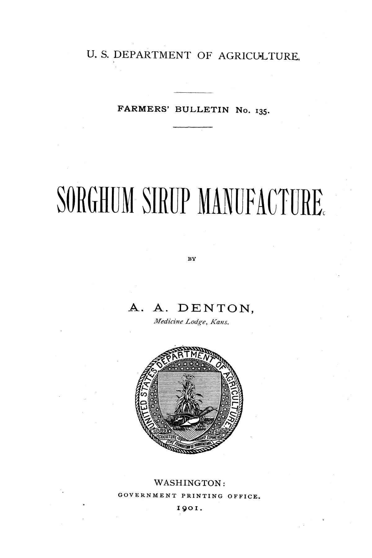 Sorghum sirup manufacture.                                                                                                      1