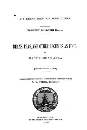 Beans, peas, and other legumes as food.