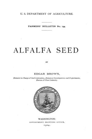 Primary view of object titled 'Alfalfa seed.'.