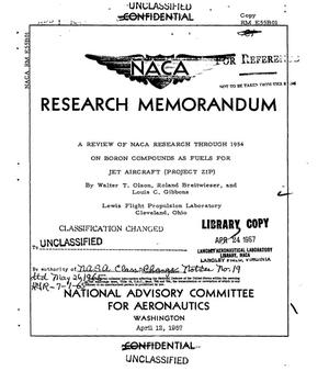 Primary view of object titled 'A review of NACA research through 1954 on boron compounds as fuels for jet aircraft (Project Zip)'.